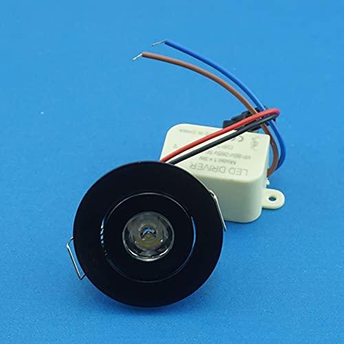 QiWangBai 52mm Spot Cut Size 40mm 10pcs/Lot 3W Small Led Downlights Recessed Mini Adjustable COB Cabinet Spot Lights Hole Size 40-45mm (Emitting Color : 5700K (Cool White)) (Black)