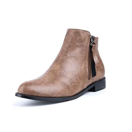 Botines Mujer Planos Tacon PU Cuero Botas Chelsea Ancho Ante Piel Casual Zapatos Invierno Moda Ankle Boots 2.5CM Negros Beige Marrón 35-43 EU Marrón 39