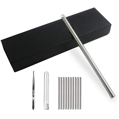 Beikalone Hair Tattoo Razor Pen, Stainless Steel Hairstyle Design Trimmer, with Tweezers and 10 Pieces Blades, for Eyebrow Mustache Hair Styling Art