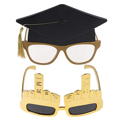 PRETYZOOM 2 Stück Abschlussbrille Grad Brille Abschluss Foto Requisiten Mittelfinger Doktor Hut Hut Geformte Feier Glückwunsch Party Gunst