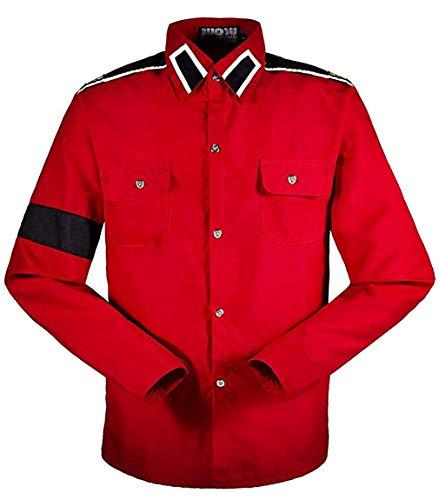Michael Jackson Camisa para Hombre Michael Jackson Camisa para niños MJ Professional Cosplay Michael Jackson Camisa Estilo CTE para MJ Fans Camisa Blanca en Colores Rojos (L, Rojo)
