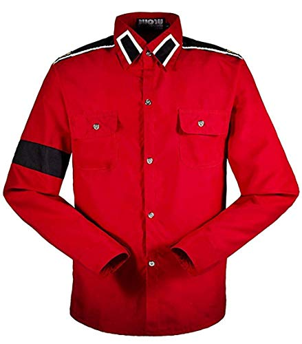 Michael Jackson Herren Kinder Shirt MJ Professional Cosplay Michael Jackson Kostüm CTE Style Shirt für MJ Fans Weiß Schwarz ROT Farben Hemd (L, Rot)