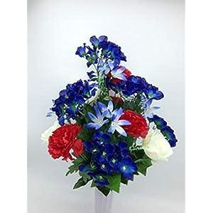 Silk Flower Cemetery Vase Rose Carnation USA Red-White-Blue