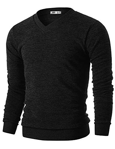 OHOO Mens Slim Fit Light Weight V-Neck Pullover Sweater/DCP015-BLACK-M
