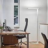Arcchio LED Stehlampe 'Logan' dimmbar in Weiß aus Aluminium ideal für Arbeitszimmer, Büro & Home Office (inkl. Leuchtmittel) - Büro-Stehleuchte, Bürolampe, Arbeitsplatzlampe, Standleuchte