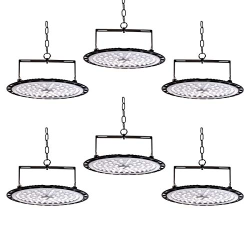 6er 300W UFO LED Werkstattlampe 30000LM 6500K Arbeitsleuchte LED-Leuchten Scheinwerfer Kaltweiß UFO LED Strahler Industriebeleuchtung Deckenleuchte Hallenstrahler für Ausstellungshalle, Hallenstadion