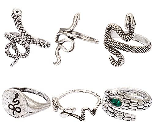 Miotlsy - Set di anelli a forma di serpente vintage, con pietre preziose, per donne e ragazze