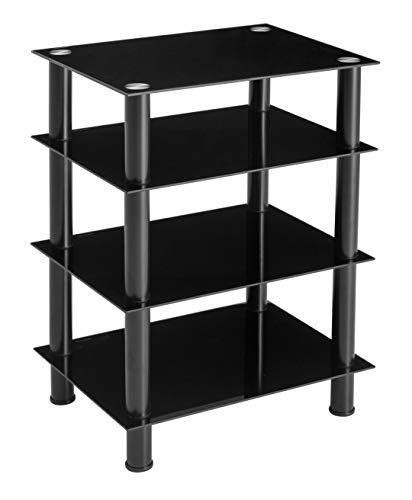 Ttap HiFi/Audio Rack/TV Stand and Entertainment Media Unit / 600mm Wide with 4 Black Glass Shelves