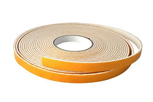 GleitGut Filzband selbstklebend Weiss - Filzklebeband Meterware - 5 Meter - Breite:10 mm - Filzstärke:3 mm