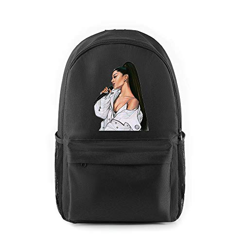 BGSSBP Schultasche Ariana Grande Rucksack Mädchen im Teenageralter Bunter Rucksack lässige Studententaschen,Black1,44x26x15cm