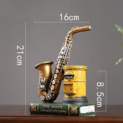 AFQHJ Bureau Decoratie Sculpturen Mini Saxofoon Muziekinstrumenten Hars ambacht Miniatuur Saxofoon Model Met Pen Houder Voor Home Decoratie