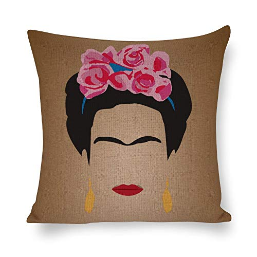 DAFUWENG Funda de Cojín Frida de Almohada Arte Vintage Autorretrato Cuadrada, Lino...