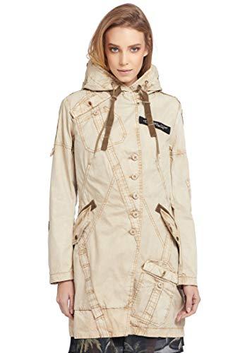 khujo Damen Mantel CHEPE Sommermantel mit Kapuze und zahlreichen Details aus Baumwolle