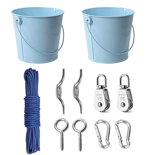 FUQUN Treehouse Accessories for Kids ,Pulley with Bucket Cable, Kids Playhouse Accessories, Pulleys for Kids, Pirate Ship Accessories Outdoor, Playhouse Game, Bucket for Treehouse (2Sets, Blue)