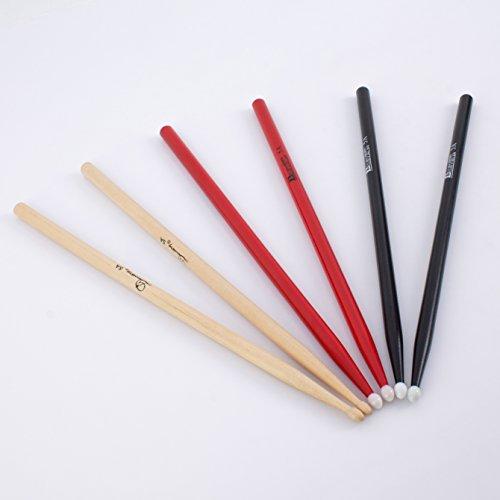 showking 3 Paar Ahorn Drumsticks 5A Set in verschiedenen Farben - Drumstick Set mit Ahorn Stöcke / 5A Schlagzeugsticks verschieden farbig