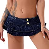 Choomomo Faldas plisadas con volantes mini denim de cintura baja Japón Casual Slim A-line Faldas cortas, azul, 36
