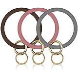 Veiai Wrist Keychain Bracelet, 3PCS Silicone Circle Keyring Bangle for Women Girls Gift Idea (3pcs-03)