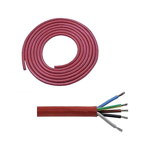 Silikonkabel (5 x 2,5 mm²) 5 Meter für Saunaofen von 4,5 bis 9 KW Saunakabel