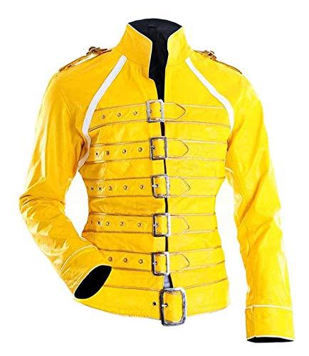 Fashion_First Chaqueta de cuero para mujer Freddie Mercury Wembley Queen Tribute Concert color amarillo