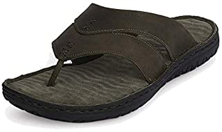 Woodland Men's Olive Green Leather Slippers GP 2667117 Green
