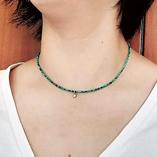 SONGK 2 mm Turquesa o 3 mm Perla de Agua Dulce 925 Plata esterlina chapada en Oro pequeño Collar con dijes de circonita 40 + 4 cm