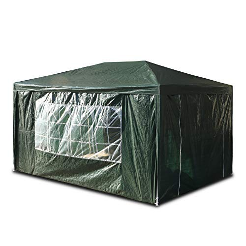SANHENG Gazebo With Sides, Waterproof Gazebo with 4 Side Panels, Fully Waterproof, Party Tent Marquee Awning with Powder Coated Steel Frame (3x4m,Green)