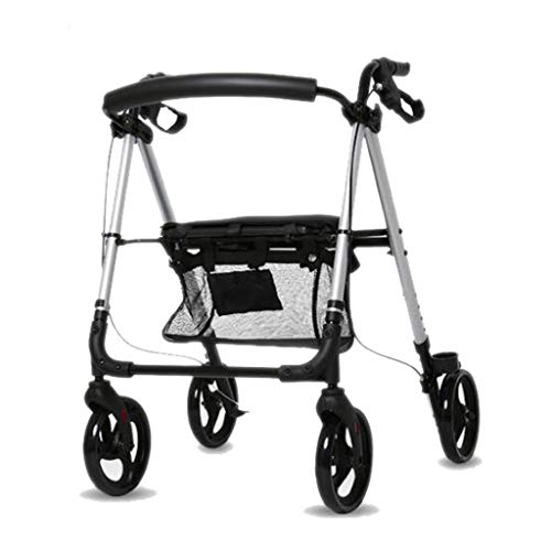 DNSJB Kan Zitten Op De Ouderen Gehandicapten Vouwwagen Met Remmen Opslag Zilver 69cm × 64cm × 84cm