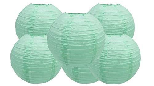 4'6'8'10'12'14'16'18 Round Paper Lanterns Lamp Wedding Birthday Party Decoration Pack of 6 (Mint Green, 6'/15CM)