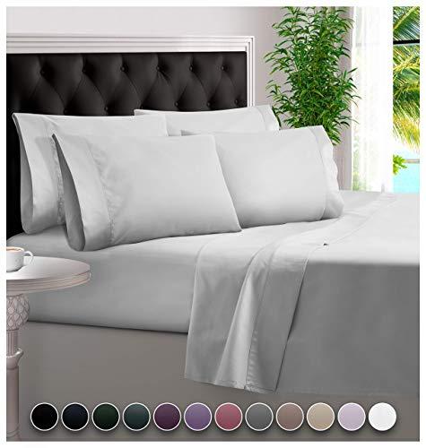 BAMPURE 6 Piece Bamboo Sheets 100% Organic Bamboo Sheets Bamboo Bed Sheets Cooling Sheets Deep Pocket Bed Sheets King Size, White