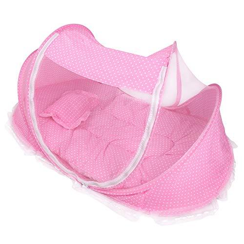 Acouto Reisebett Baby, Moskitonetz Zelt für Babys 4 Stück, tragbare und Faltbare Design, Es Wird mit Einer Matratze, einem Kopfkissen und einem kleinen Spielzeug zum Spielen geliefert(粉色)