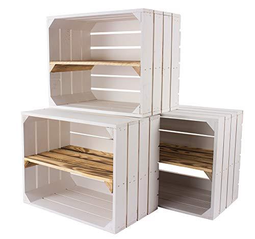 Vintage Möbel 24 GmbH 5er Set weiße Obstkisten mit geflammten Zwischenbrett längs – Holzkisten als Schuhregal – Shabby Chic - 50x30x40cm