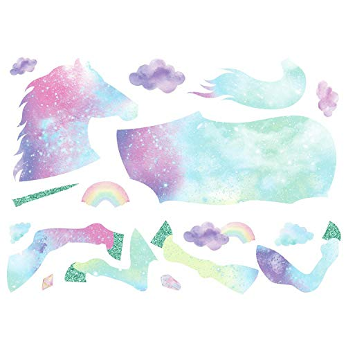 RoomMates Galaxy Unicorn Peel And Stick Giant Wall Decal With Glitter, Pink, Blue, Purple, Aqua , 1 Sheet At 36.5 Inches X 17.25 Inches And 1 Sheet At 9 Inches X 36.5 Inches - RMK3845GM