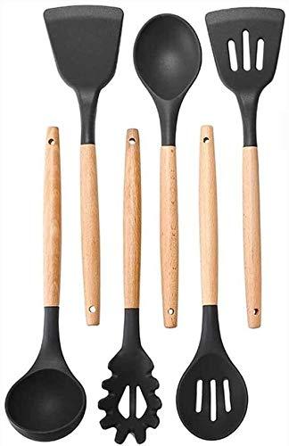 SHATOUYU 6PC Nonstick Kitchenware Set, Silicone Kitchenware - Bpa-Free, Non-Toxic, Heat Resistant, Non-Stick, Plastic Frame with Hanging Holes Kitchen Tools Bakeware, Black SA620