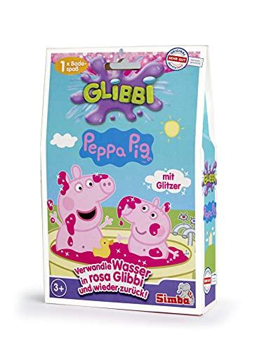 Simba 105953348 - Glibbi Peppa Pig, Badewannenspielzeug, pinker Glitzerschleim, Pulver verwandelt Wasser in Schleim, Glitter, 300 g, Badespaß, ab 3 Jahren, Peppawutz