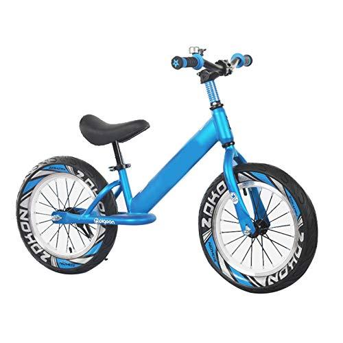 Laufräder Lauflernrad 16 Zoll Luftreifen Laufrad für Großes Kind Jungen Teenager, Keine Pedale Leicht Aluminiumrahmen Strider Fahrrad, für Höhe 118-150cm, Unterstützung Bis Zu 60 Kg (Color : Blue)