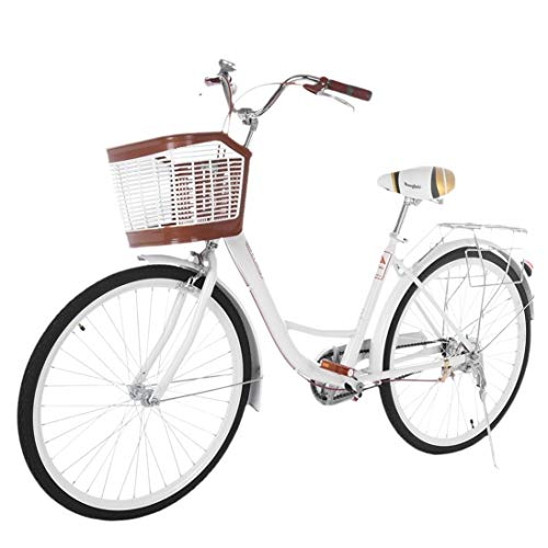 26 Inch Women's Cruiser Bike,Classic Bicycle Retro Bicycle Beach Cruiser Bicycle Retro Bicycle (Women's Bike,Lady, Gloss White)