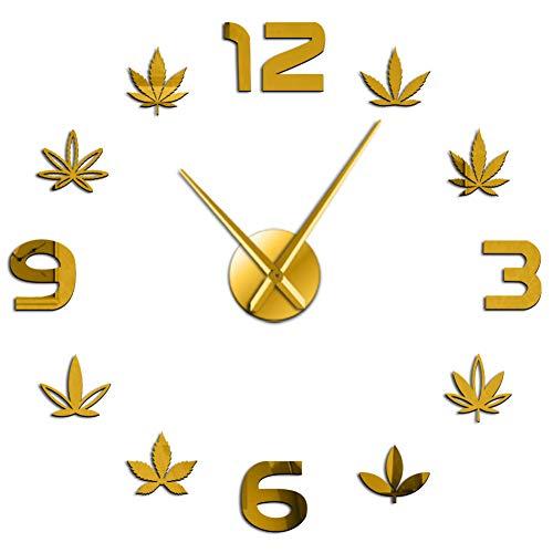 BBNNN Verde Medicina Herbaria artística silencioso Reloj de Pared de Cuarzo Marihuana Hoja de Hierba DIY 3D Efecto de Espejo de acrílico Reloj decoración de la habitación