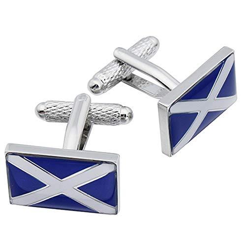 Boutons de manchette-Scottish Flag-Drapeau écossais St Andrews Onyx Art Boutons de manchette en forme de croix dans une boîte