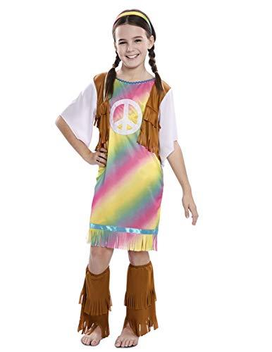 Generique - Hippiemeisjeskostuum voor kinderen, carnavalskleding uit de jaren 60, kleurrijk 110/116 (5-6 jaar)