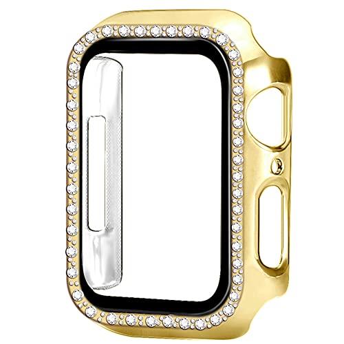 AISPORTS Compatible con Apple Watch Case de 40 mm con protector de pantalla de vidrio templado, PC duro HD transparente, brillante, carcasa protectora total para iWatch Series 6/5/4/SE