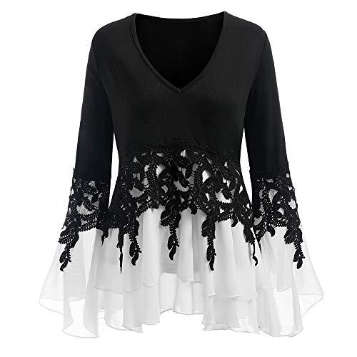 iHENGH Damen Frühling Sommer Top Bluse Bequem Lässig Mode Frauen Farbblock Langarm Brief Print Oansatz Sweatshirt Pullover Top Bluse(Schwarz, M)