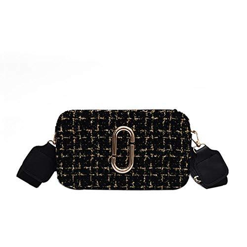 OYCC Bolso bandolera de lana Bolso cuadrado de tela escocesa Bolso mensajero Bolso móvil - Negro