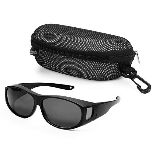 BEZZEE PRO Cubre Gafas de Sol Polarizadas con Estuche - Gafas Sol Superpuestas Anti Resplandor UV 400 Uso sobre Gafas Recetadas - Gafas de Sol Hombre y Mujer Envolvente – Ciclismo, Senderismo, Pesca