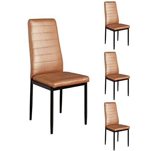 Lxn Simplicité Moderne Design Chaise en Fer forgé en Cuir PU, Chaise Home Leisure, Chaises Hautes, Salle à Manger, Cuisine, Chambre à Coucher, Chaises côté Salon - Série de 4