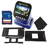 Wolverine F2D Saturn Digital Film & Slide Scanner - Converts 120 Medium Format, 127 Film, Microfiche, 35mm Negatives & Slides to Digital JPEG - 4.3' LCD w/HDMI Output, 16GB SD Card & Z-Cloth (Blue)
