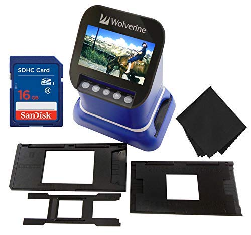 "Wolverine F2D Saturn Digital Film & Slide Scanner - Converts 120 Medium Format, 127 Film, Microfiche, 35mm Negatives & Slides to Digital JPEG - 4.3"" LCD w/HDMI Output, 16GB SD Card & Z-Cloth (Blue)"