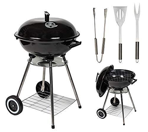 MYLEK Charcoal Barbecue Kettle Portable Grill BBQ with Thermometer Temperature Gauge , Lid & 3 Cooking Utensils - 17