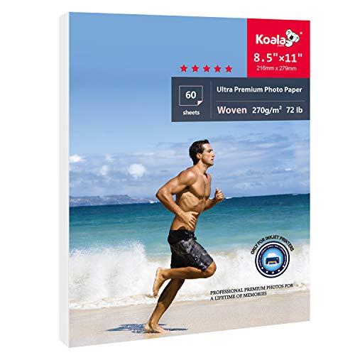 Koala Ultra Premium Photo Paper for Inkjet Printers - Woven Canvas Textured 8.5x11 Inch 72lb 60 Sheets