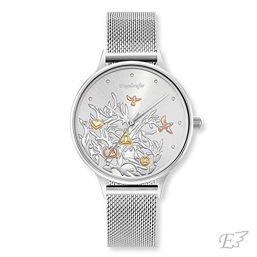 Engelsrufer - Damen Uhr Lebensbaum mit Meshband, Edelstahl Armbanduhr für Frauen und Mädchen, Damenuhr mit Quarzuhrwerk & Mesh Metallarmband