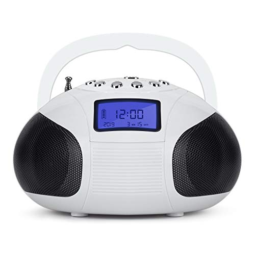 August SE20 Poste Radio FM et Enceinte Bluetooth MP3 - Bluetooth USB SD Jack 3.5mm Radio FM Réveil et Batterie rechargeable – Blanc